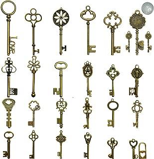 N'joy Vintage Skeleton Keys, Mixed Steampunk Keys (Antique Bronze, X28B-28PCS)