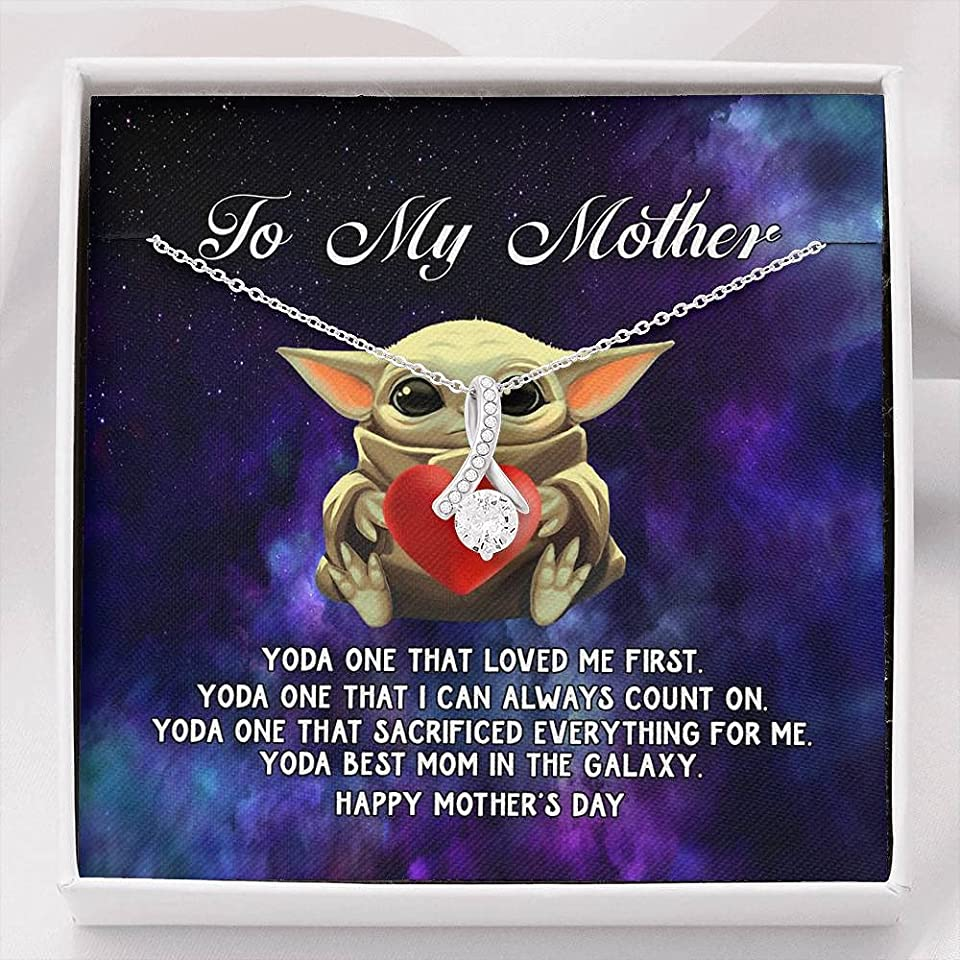 To My Mother From Daughter or Son Necklace Yoda One that Loved Me First, Yoda Best Mom In The Galaxy Alluring Beauty Necklace On Birthday, Christmas, Mother's Day Gift. with Message Card and Gift Box
