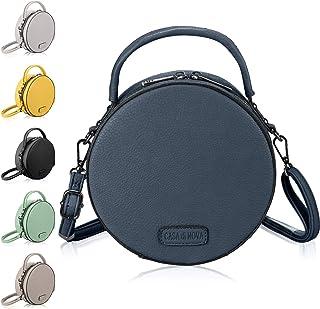 CASAdiNOVA runde Handtasche Damen - veganes Leder, kleine Umhängetasche Damen, Schultertasche - Frauen-Hand-Tasche Blau
