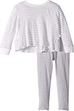 Yarn-Dye Stripe Ruffle Back Top Set (Little Kids)