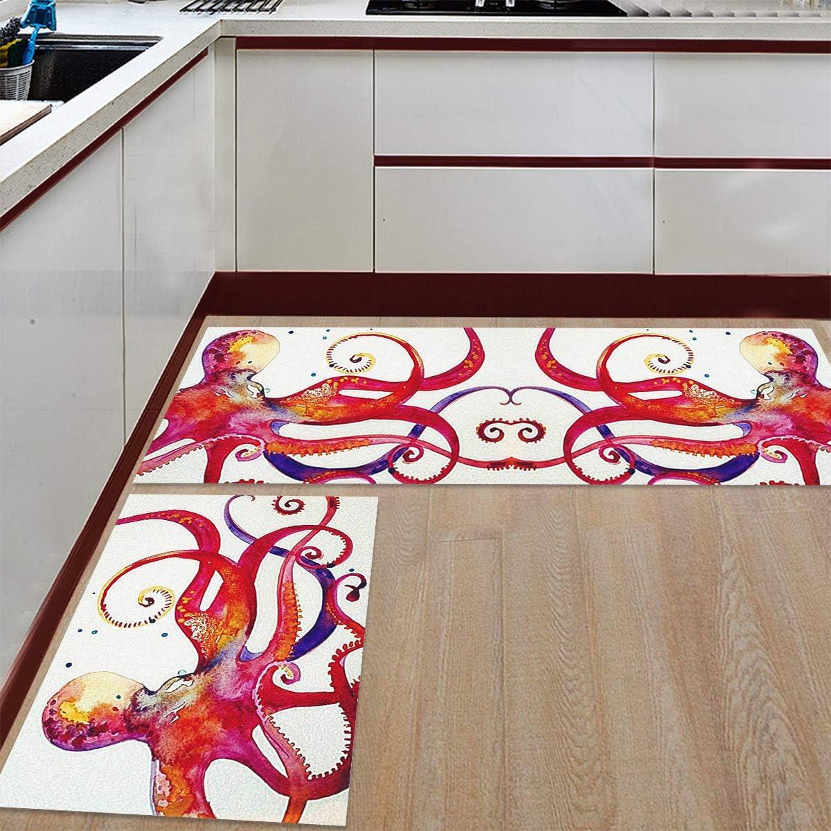 2 Pieces Import Anti-Slip Kitchen Colorful Sale SALE% OFF Mats Illustration Aquarelle