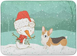 Caroline's Treasures Tricolor Pembroke Corgi Snowman Christmas Machine Washable Memory Foam Mat, Multicolor