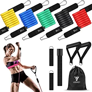 LEEKEY Resistance Bands Set Workout Bands (11pcs) 5 Different Level Stackable Exercise Bands with Door Anchor, Handles, Wa...