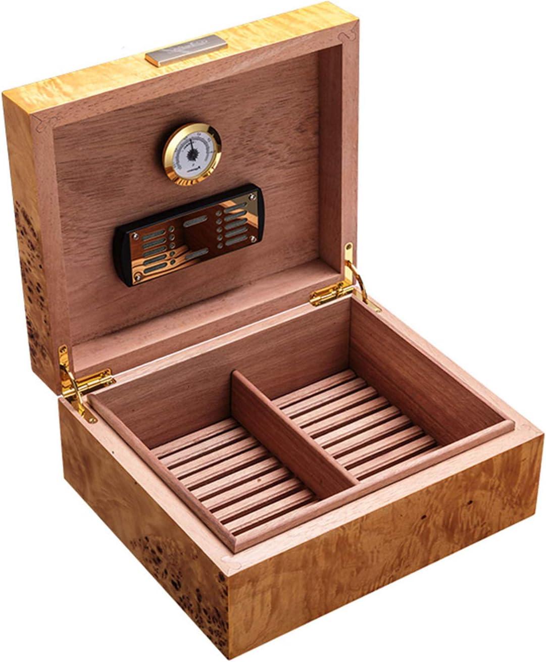Wood Cigar Box Boston Mall Desktop Hygrometer with store Humidor and