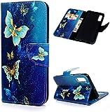 F�r Samsung Galaxy A50 H�lle PU Lederh�lle Brieftasche Folie Handyh�lle Gemalt Muster Tasche Kartenhalter Magnetschnalle St�nder Sto�fest Kratzfest Sto�stange Schutzh�lle Blauer Schmetterling