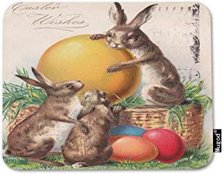 Mugod Easter Wishes Mouse Pad Vintage Bunny Rabbit Candy Eggs Grass Red Blue Yellow Mouse Mat Non-Slip Rubber Base Mousepad for Computer Laptop PC Gaming Working Office & Home 9.5x7.9 Inch