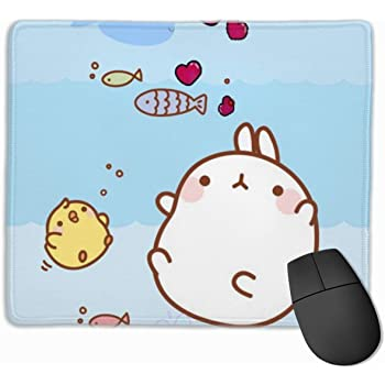ManSanTuBaZhu Baby Monkey Anti-Slip Unique Designs Gaming Mouse Pad Black Cloth Rectangle Mousepad Art Natural Rubber Mouse Mat with Stitched Edges 9.811.8 Inch
