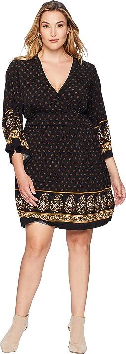Plus Size Paisley Garden Deep Vee Dress