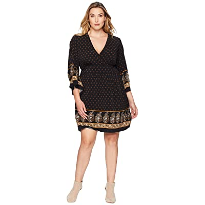 MICHAEL Michael Kors Plus Size Paisley Garden Deep Vee Dress (Black/Marigold) Women