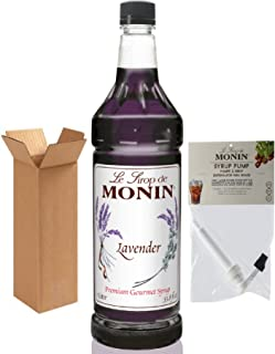 Monin Lavender Syrup, 33.8-Ounce Plastic Bottle (1 Liter) with Monin Pump, Boxed.