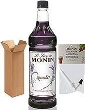 Monin Lavender Syrup, 33.8-Ounce Plastic Bottle (1 Liter) with Monin Pump, Boxed.