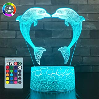 SETIFUNI Dolphin Gifts, 3D Dolphin lamp 16 Colors Change with Remote Control 3D Optical Illusion Dolphin Decor Light As a Gift Ideas for Baby Girls Birthday Gifts(Dolphin Toys)