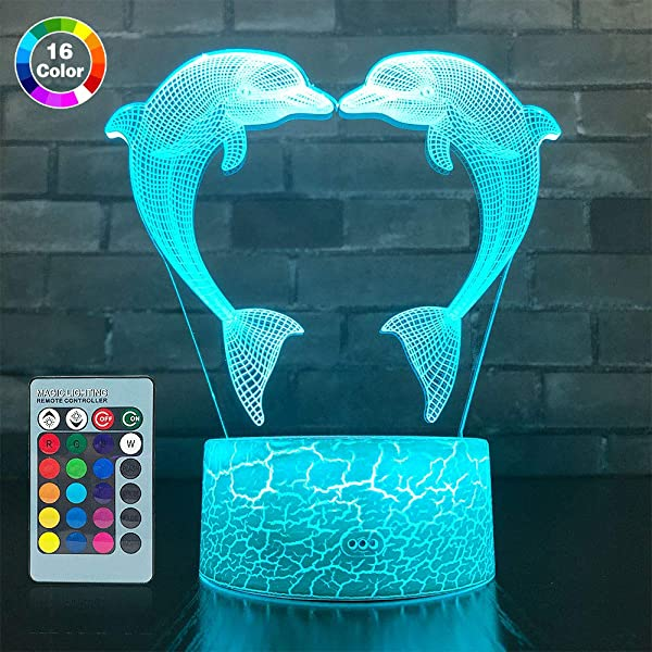 SETIFUNI Dolphin Gifts 3D Dolphin Lamp 16 Colors Change With Remote Control 3D Optical Illusion Dolphin Decor Light As A Gift Ideas For Baby Girls Birthday Gifts Dolphin Toys