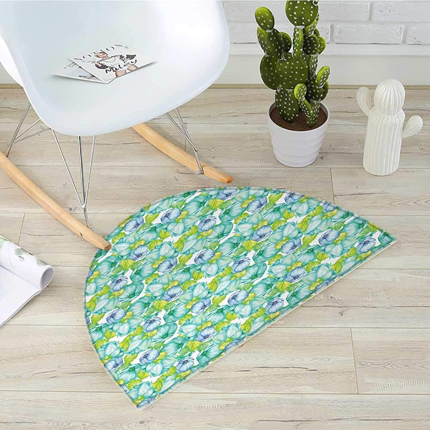 Turquoise Semicircle Doormat Blooming Flower Figures Watercolor Pastel Paint Bouquet Herbs Summer Theme Print Halfmoon doormats H 39.3  xD 59  Green White