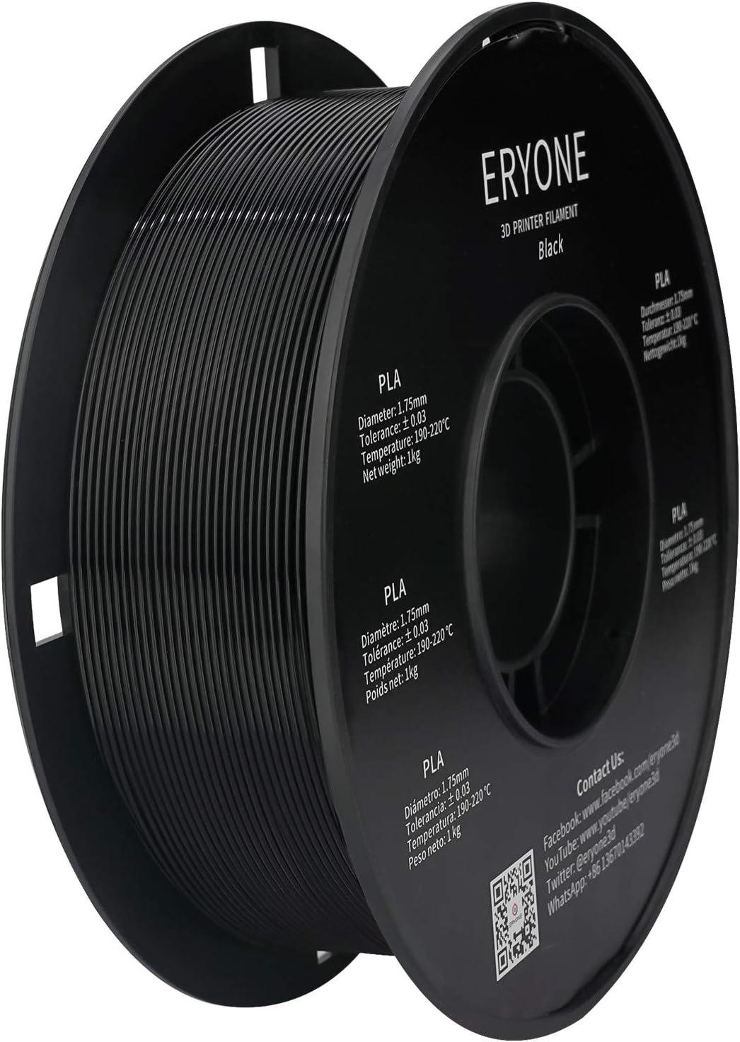 Filament PLA 1.75mm, ERYONE PLA Filament 1.75mm, Imprimante 3D Filament PLA Pour Imprimante 3D, 1kg 1 Spool,Noir