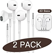 QIANXIANG 3.5mm in-Ear Wired Earbuds/Earphones/Headphones with Remote & Micphone Compatible with iPhone 6s plus/6/5s/5c/Pad/S10 Android All 3.5 mm Audio Devices (2 Pack)