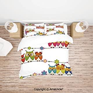 SCOCICI Cute Angry Amusing Owls Eyes Sitting on a String of Flowers Branch Birds Decor D Simple Cover Set Bedsheet Pillowcases Bedding Set 4pc Full Size