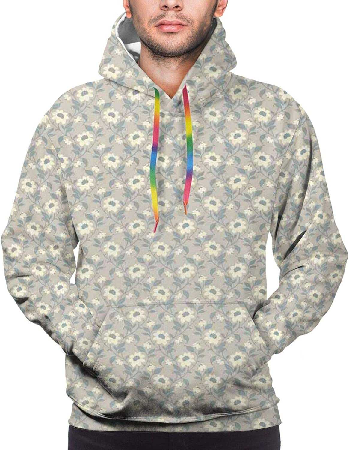Men's Hoodies Sweatshirts,Blooming Nature Themed Illustration with Foliage and Curved Lines