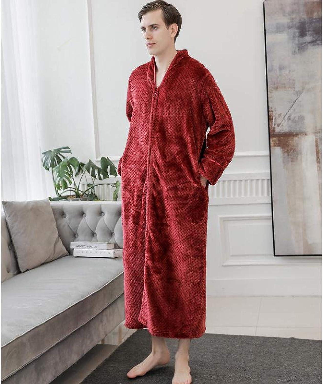 STJDM Nightgown,Winter Warm Flannel Robe Men Nightwear Thicken Coral Fleece Kimono Bath Gown Casual V-Neck Couple Sleepwear Warm L BurgundyMen