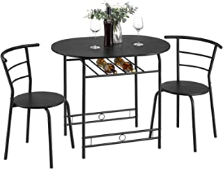 Kealive 3 Piece Kitchen Table Set Space Saving Dining Set Table and 2 Chairs with Metal Frame and Shelf Storage, Home Breakfast Table Bistro Pub Compact Set for Apartment, Black