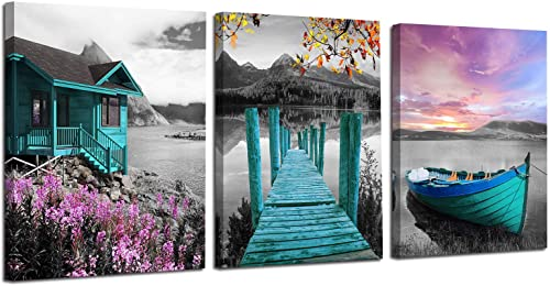Ardemy Canvas Wall Art Landscape Lake Painting Cabin Teal Purple Sail Boat Pictures Framed Modern Blue Cottage Artwor...