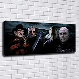 lihuaiart Canvas Wall Art Home Wall Decorations for Bedroom Living Room Oil Paintings Canvas Prints Freddy Vs Jason,Michael Myers 16x40inch