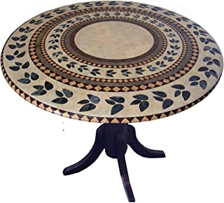 Mosaic Table Cloth Round 36 Inch To 48 Inch Elastic Edge Fitted Vinyl Table Cover Inlaid Atlantis Pattern Brown Tan Green