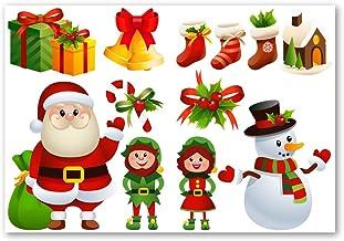 Set van 10 kerststickers | autosticker | raamsticker | santa, elf, sneeuwpop, klokken, decoraties