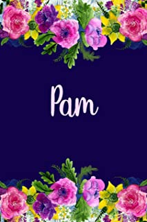Pam: Personalized Name Pink Floral Design Matte Soft Cover Notebook Journal to Write In. 120 Blank Lined Pages