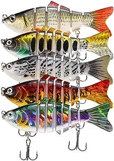 Lixada Fishing Lure Set Multi Jointed Segment Swimbait Lifelike Hard Bait Crankbait Treble Hooks 3D Eyes Popper Crankbait Vibe Sinking Lure for Bass Trout Perch