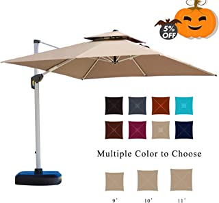 PURPLE LEAF 11 Feet Double Top Deluxe Square Patio Umbrella Offset Hanging Umbrella Outdoor Market Umbrella Garden Umbrella, Beige