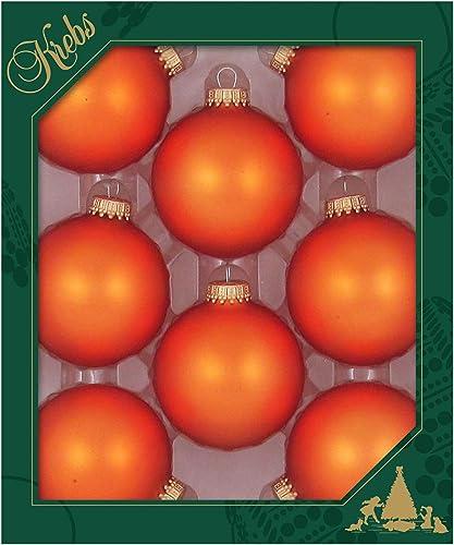 "Christmas By Krebs Made in The USA Designer Seamless Glass Christmas Ball Ornaments, 2 5/8"" (67mm), Wildfire Velvet O..."