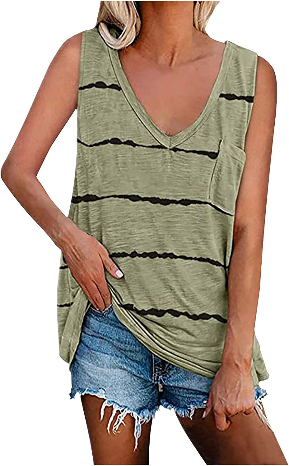 AODONG Womens Tank Tops Loose Max 74% OFF Fit Feather Soft Printed Ranking TOP16 Lo Summer