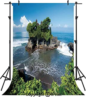 Balinese Decor Photography Backdrops,Tanah Lot Temple in Bali Island Wavy Ocean Historic Architecture Heritage Picture,Birthday Party Seamless Photo Studio Booth Background Banner 5x7ft,Green Blue