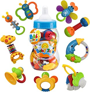 AIVIAI 9pcs Baby First Rattle Teether Toy Gift Set with Mike Bottle for Infant Newborn Baby Boy 3 6 9 12 18Month Blue