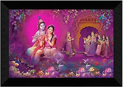 SAF Radhe Krishna Modern Art Digital Reprint UV Textured Synthetic Frame Painting 20 Inch X 14 Inch