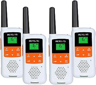 Retevis RT649B Walkie Talkie Wiederaufladbar, 16 Kanäle, PMR446 Lizenzfrei, 10 Ruftöne, LED Taschenlampe, VOX Freisprecheinrichtung, 3AA Akku, Walkie Talkie (4 Stück, Weiß)