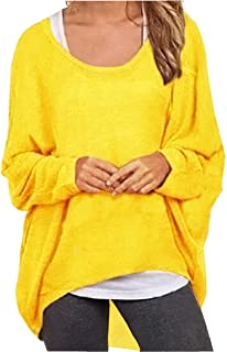 331097dbc3bff UGET Women s Sweater Casual Oversized Baggy Off-Shoulder Shirts Batwing  Sleeve Pullover Shirts Tops