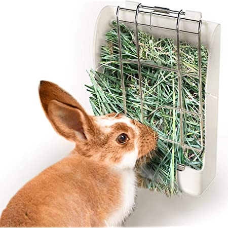 SunGrow Rabbit Hay Feeder Rack, 7 x 6 Inches, Food Dispenser Keeps Hay, Alfalfa and Other Grasses Dry, Attaches to Cage Conveniently, White