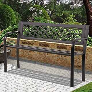 Patio Bench Garden Bench Outdoor Bench Metal Porch Chair with Armrests Sturdy Steel Frame Furniture, 480LBS Weight Capacity, for Park Yard Patio Deck Lawn, Black