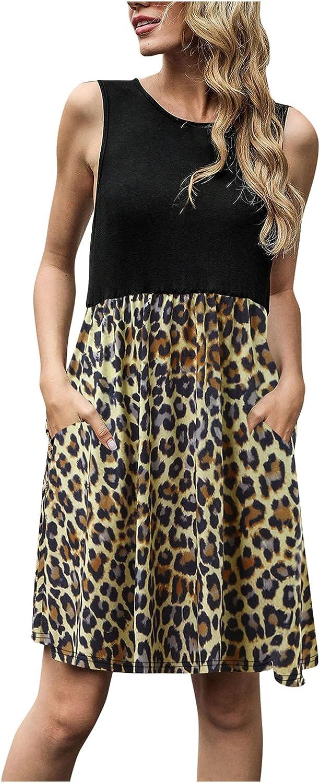 Lovor Women Summer Casual Swing T Shirt Dresses Leopard Splicing Beach Cover up Loose Tank Dress