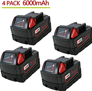 VINIDA 4 Pack 18V 6000Ah Lithium-ion Replacement Battery for 18-Volts Milwaukee M18 Series Cordless Power Tool 48-11-1850 48-11-1852 48-11-1840 48-11-1828 M18 Battery