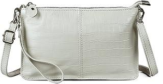 Befen Leder-Clutch, Geldbörse, kleine Umhängetasche für Damen, Elfenbeinfarbenes Krokodil, Small