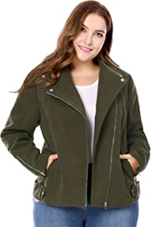 Agnes Orinda Women's Plus Size Zip Closure Convertible Collar Inclined Moto Jacket