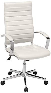 Amazon Basics High-Back Executive Swivel Office Desk Chair with Ribbed Puresoft Upholstery - White, Lumbar Support, Modern Style
