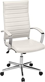 AmazonBasics High-Back Executive Swivel Office Desk Chair with Ribbed Puresoft Upholstery - White, Lumbar Support, Modern ...