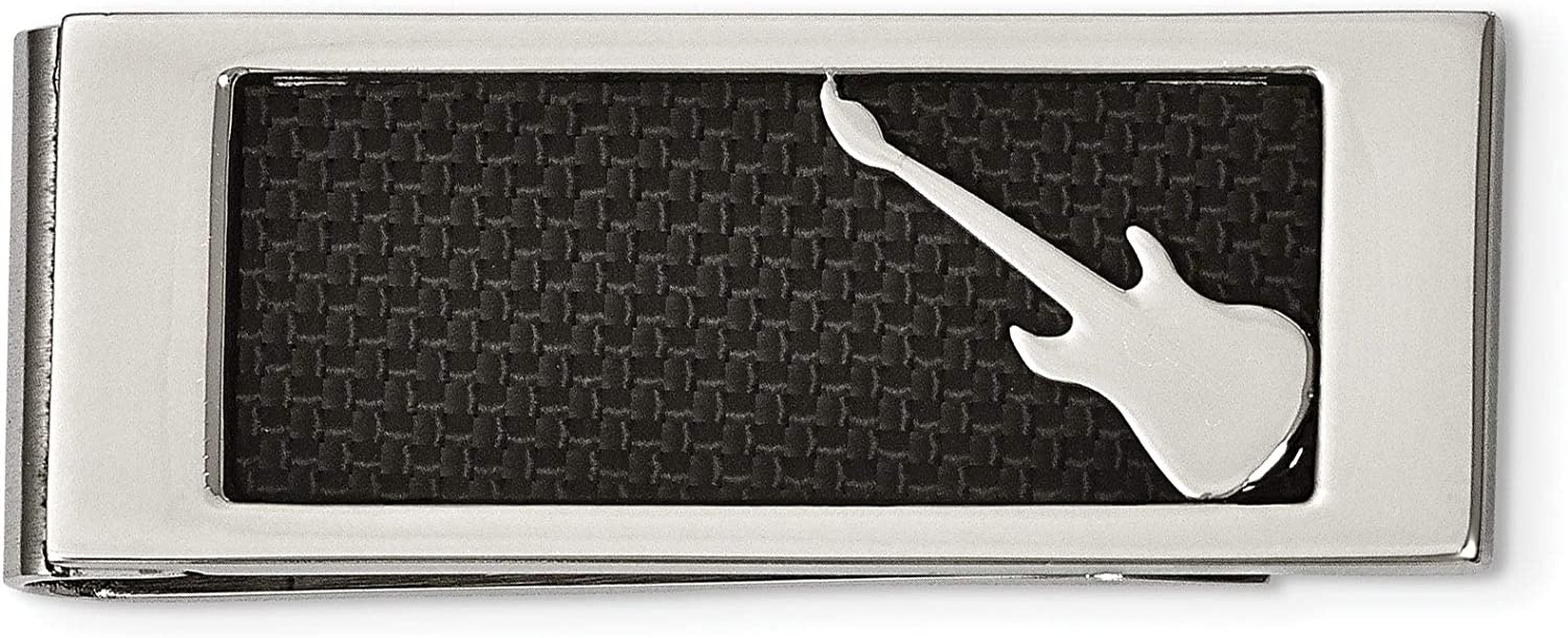 Stainless Steel Polished Black Carbon Inlay Fiber Many popular brands Max 40% OFF C Guitar Money
