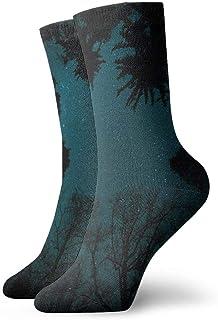 Árboles sin hojas noche estrellada Calcetines cortos transpirables Calcetines clásicos de algodón de 30 cm para hombres Mujeres Yoga Senderismo Ciclismo