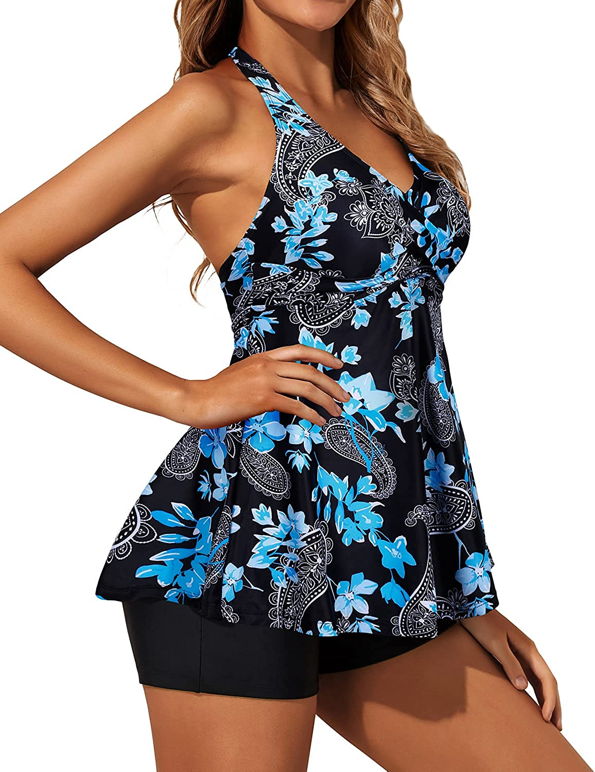 Yonique Two Piece Tankini Swimsuits for Women with Shorts Halter V Neck Bathing Suits Flowy Twist Front Swimwear