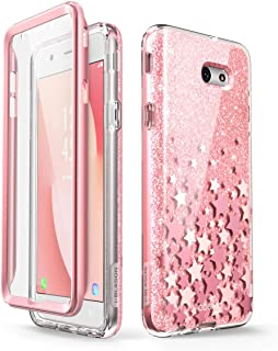 i-Blason Case Designed for Galaxy J7 2017, Cosmo Series Full-Body Glitter Bumper Case with Built-in Screen Protector for Galaxy J7 (SM-J727), Not fit J7 2018 (SM-J737) (Pink)